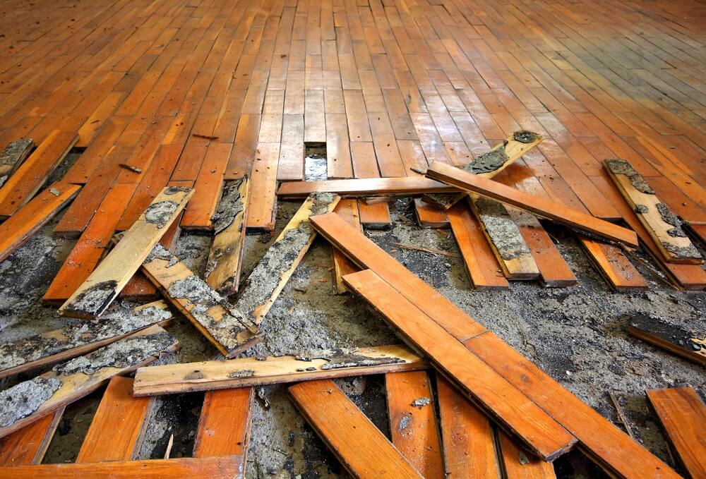 Flooring during Terre Haute home water damage remediation process