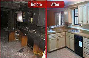 Fire damage before and after terre haute home fire cleanup
